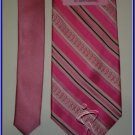 NEW BREAST CANCER LOGO STRIPES SILK TIE PINK