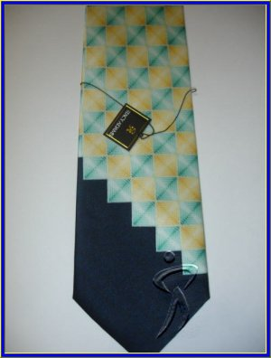 MENS NEW W/TAG STACY ADAM SILK TIE SQUARES YELLOW GREEN