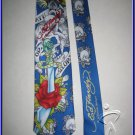 MEN NEW ED HARDY CHRISTIAN AUDIGIER ROSE SKULL SILK TIE