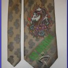 NEW ED HARDY SILK TIE COBRA SNAKE FLAMING ROSE