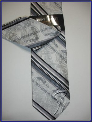 NEW STEVE HARVEY SILK TIE W/ HANKY BLACK STRIPES PAISLE