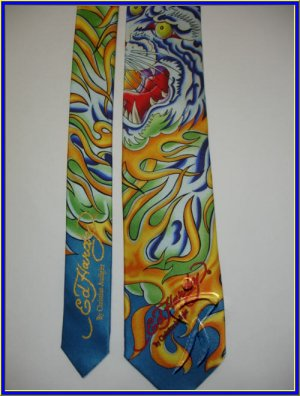 NEW ED HARDY SILK TIE FLAMING TIGER FIRE LOGO