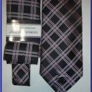 NEW GIORGIO BRUTINI HANKY TIE BLACK PINK STRIPES PLAID