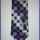 NEW STACY ADAMS SILK NECK TIE CIRCLES POLKA DOTS PURPLE