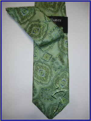 NEW STEVE HARVEY SILK TIE W/ HANKY GREEN PAISLEY ART NR