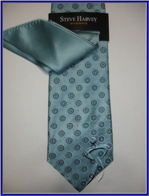 NEW STEVE HARVEY SILK TIE W/ HANKY BOARD ROOM EXECUTIVE
