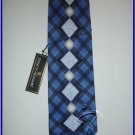 MENS NEW W/TAG STACY ADAM SILK TIE PLAID BLUE BLACK
