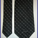 NEW GEOFFREY BEENE SILK TIE BLACK DOTS PLAID DESIGNER