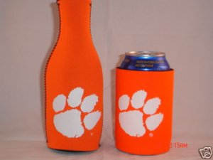 CLEMSON TIGERS Logo Bottle & Can Soda Cooler Koozie