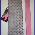 NEW BREAST CANCER PINK POLKA DOTS WOVEN SILK TIE