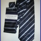 NEW GIORGIO BRUTINI HANKY TIE BLUE WHITE STRIPES