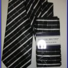 NEW GIORGIO BRUTINI W/ HANKY TIE BLACK WHITE STRIPES