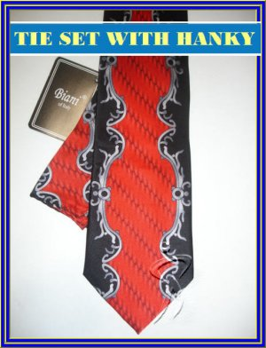 NEW BIANI OF ITALY SILK TIE HANKY PAISLEY ART DECO RED