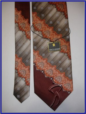 NEW STACY ADAMS SILK TIE PAISLEY STRIPES ART DECO