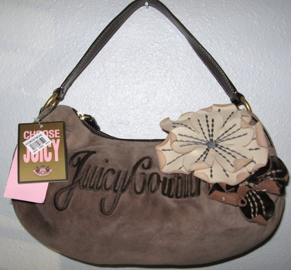 JUICY COUTURE BROWN FLOWER CITY GIRL SATCHEL HANDBAG