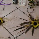 Diamond shaped Barbed-Wire hanger with Sunflowers