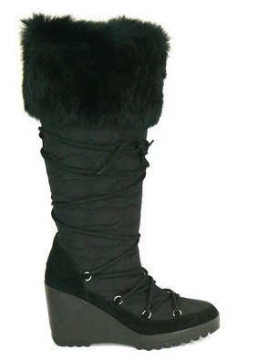 COACH Sophie BLACK QUILTED Monogram WEDGE FUR Boots 7