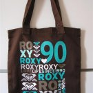 ROXY Brown Teal LOVE LIFE SURF CALI Canvas BOOKBAG TOTE