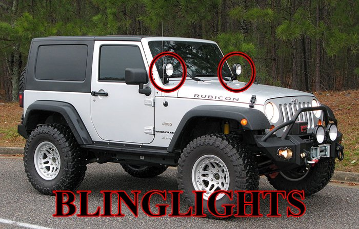 Jeep Wrangler JK TJ YJ Off-Road Windshield Side Mirror Auxilliary Driving Lamps Hood Lights Kit