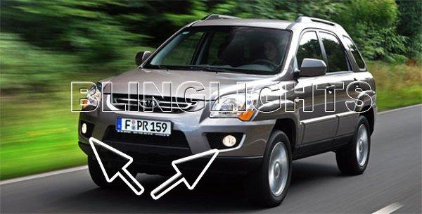 2009 2010 Kia Sportage LED Fog Lamps Driving Lights Foglamps LX EX Foglights Kit