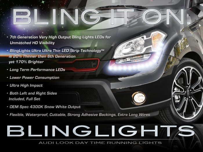 Kia Soul LED DRL Head Lamp Light Strips Kit Day Time Running Kit