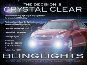 2010 2011 2012 Chevrolet Chevy Cruze LED Fog Lamps Driving Lights Foglamps Foglights Kit