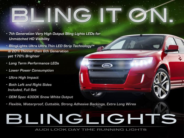Ford Edge LED DRL Head Light Strips Day Time Running Lamps