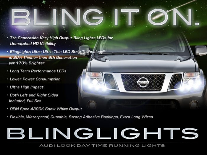 nissan navara d40 led drl light strips day time running ls