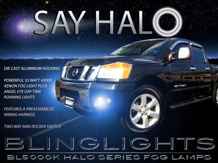 blinglights 2004 2005 2006 2007 2008 nissan titan halo fog lights angel eyes driving fog lights. Black Bedroom Furniture Sets. Home Design Ideas