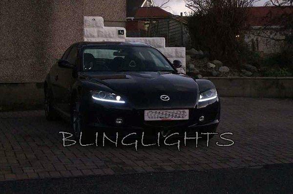 2004 2005 2006 2007 2008 Mazda RX-8 RX8 LED DRL Strip Lights Headlamps Headlights Head Lamp Strips