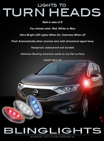 Nissan Quest LED Side Markers Accent Turnsignals Turn Signals Signalers Lights Lamps