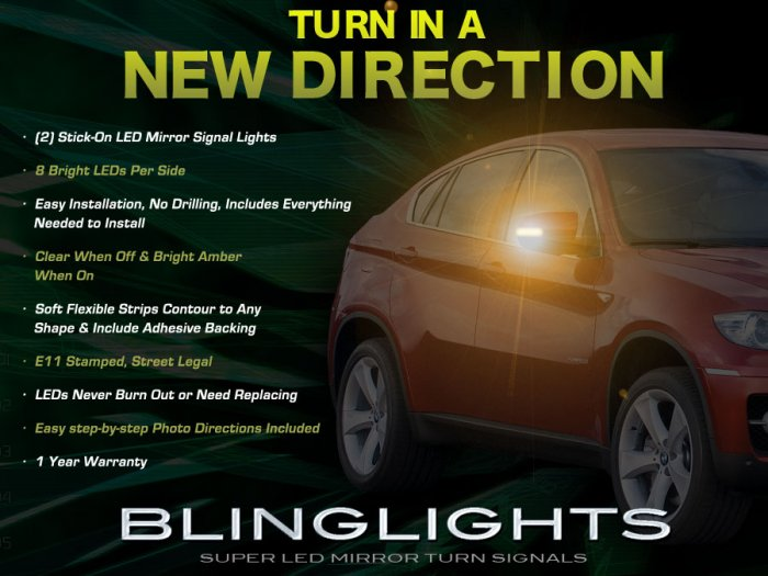 BMW X5 X6 E53 E70 LED Side Mirror Turnsignals Turn Signals Signalers Lights Mirrors Lamps