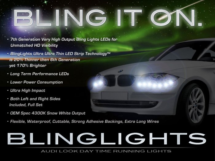 BMW 1 Series E81 E82 E87 E88 F20 LED DRL Strips Headlamps Headlights Head Lamps LEDs DRLs Lights