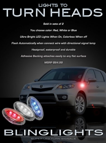 Acura RDX LED Side Marker Turnsignals Turn Signals LEDs Signalers Accents Lights Blinkers Lamps