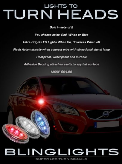 Volvo XC90 LED Side Markers Turnsignals Accent Turn Signals LEDs Signalers Lights Blinkers Lamps