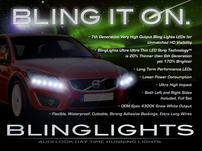 Volvo C70 LED Strip DRLs for Headlamps Headlights Head Lamps Day Time Running Lights Strips