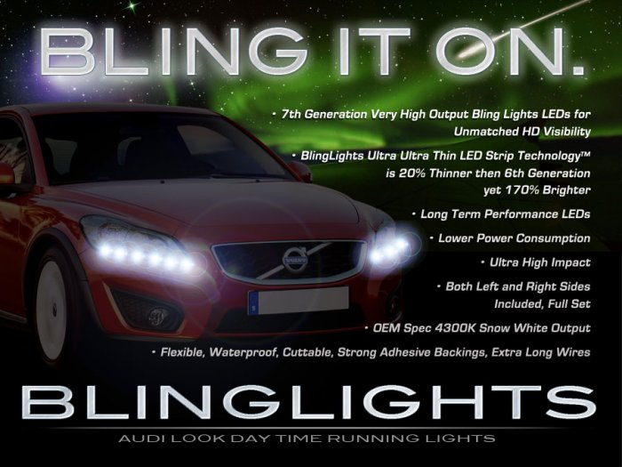 Volvo V50 LED Strips DRLs Headlamps Headlights Head Lamps Day Time Running Lights LEDs DRL
