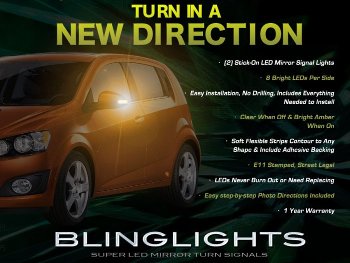 Chevrolet Sonic Side View Mirror Add-On LED Turnsignal Lights