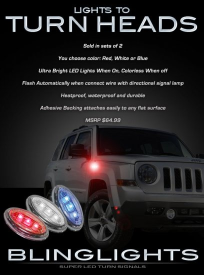 Jeep Patriot LED Side Markers LEDs Accent Lights Turnsignal Turn Signal Signaler Lights Lamps