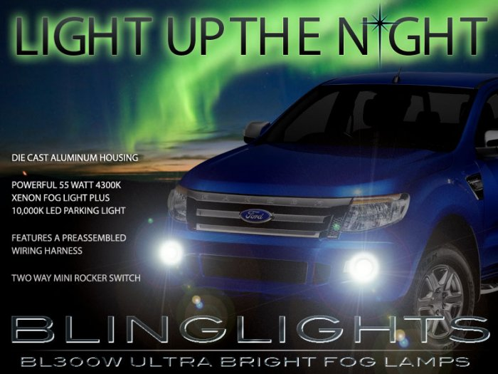 2012 2013 2014 Ford Ranger Xenon Foglamps Foglights Driving Fog Lamps Lamp Lights Light Set Kit