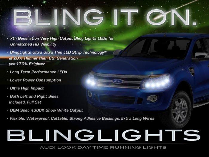Ford Ranger LED Lights Strip DRL Day Time Running Lamps Kit Headlamps Headlights Lighting Set