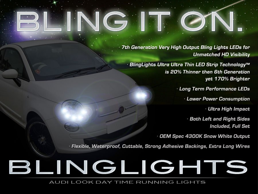 Fiat 500 LED DRL Light Strips for Headlamps Headlights Head Lamps Day Time Running Strip Lights