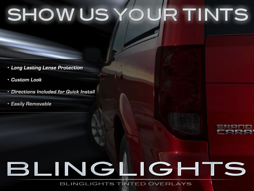 Dodge Grand Caravan Tinted Smoked Protection Overlays Film for Taillamps Taillights Tail Lamps