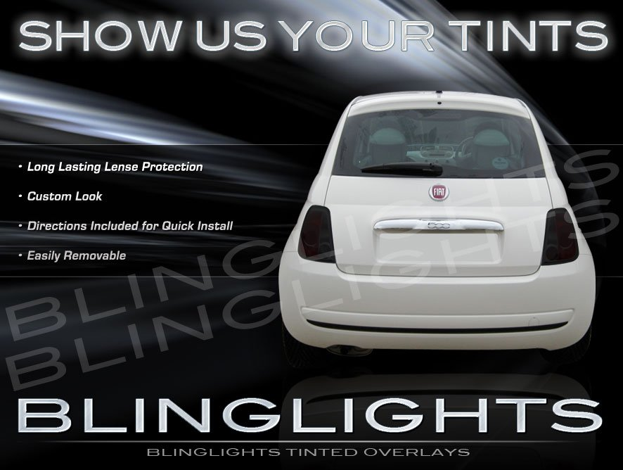 Fiat 500 Smoked Tinted Protection Overlays Film for Taillamps Taillights Tail Lamps Lights