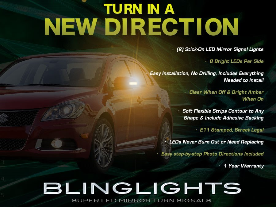 2009 2010 2011 Suzuki Kizashi LED Mirror Turnsignals LED Turn Signals Lights LEDs Signalers Lamps