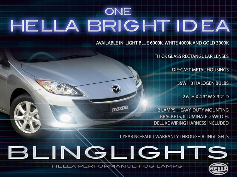 2010 2011 Mazda3 Xenon Fog Lamp Driving Light Kit Sedan Hatchback Foglamps Foglights Drivinglights