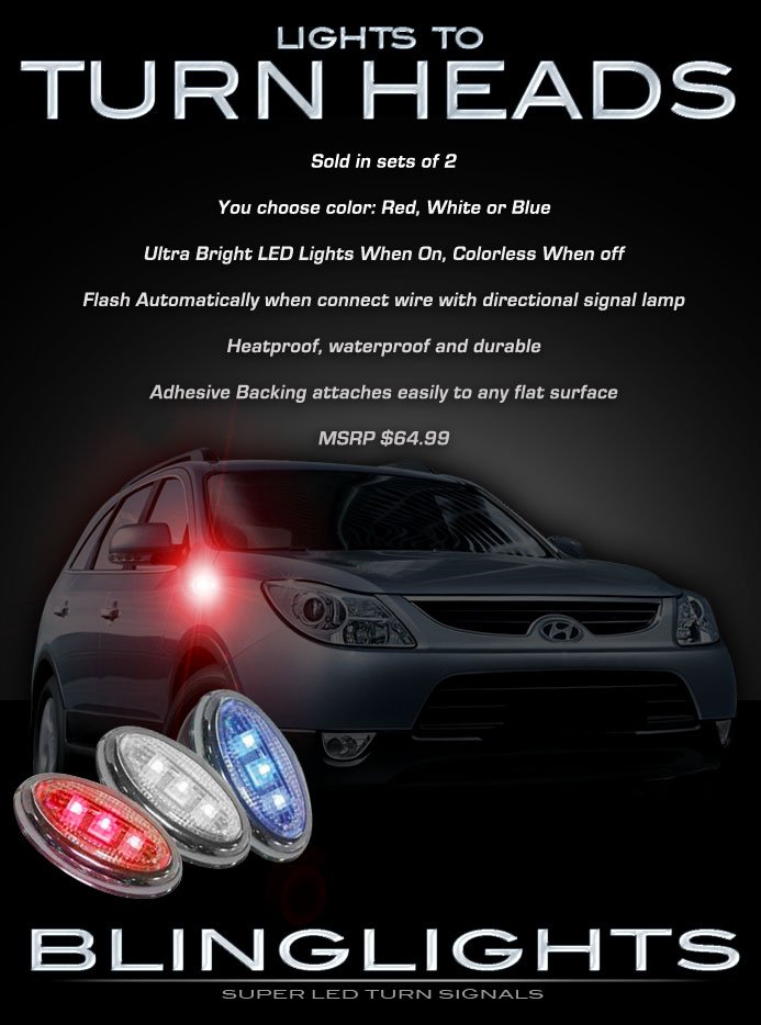 2007 2008 2009 2010 2011 Hyundai Veracruz ix55 LED Side Markers Turnsignal Lights Turn Signal Lamps