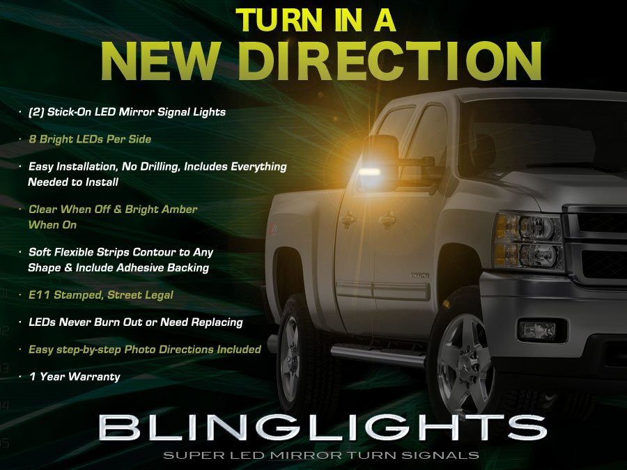 GMC Savana LED Mirror Turnsignals Lights LEDs Mirrors Turn Signals Lamps Side View Signalers