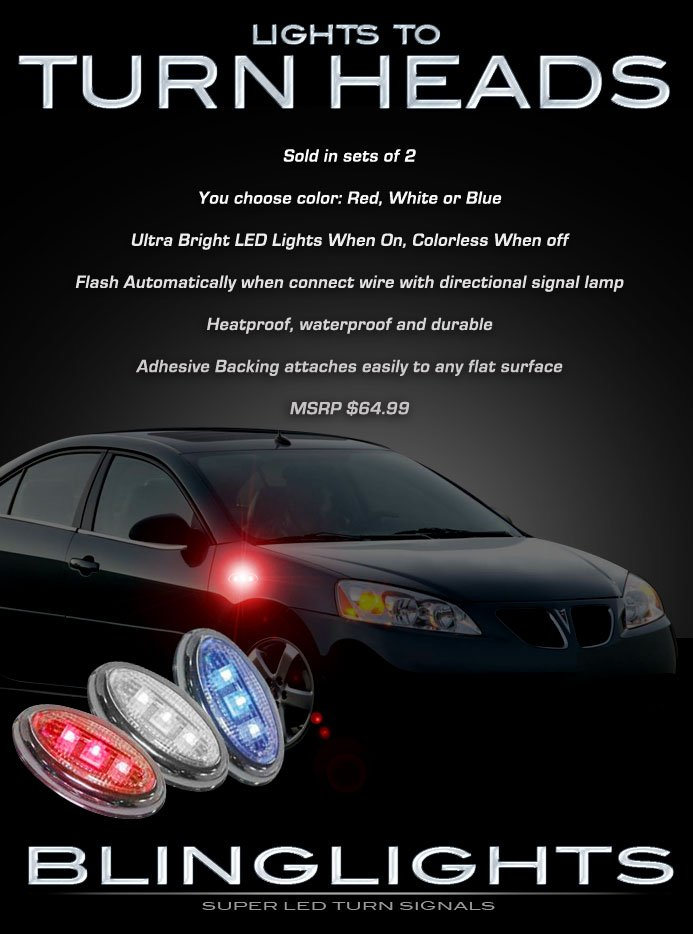 2005-2010 Pontiac G6 LED Side Marker Turnsignal Accent Lights Turn Signal Lamps Signalers LEDs