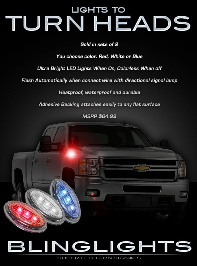 Chevy Avalanche LED Side Accent Marker Turnsignal Lights Turn Signal Lamps Chevrolet LEDs Signalers